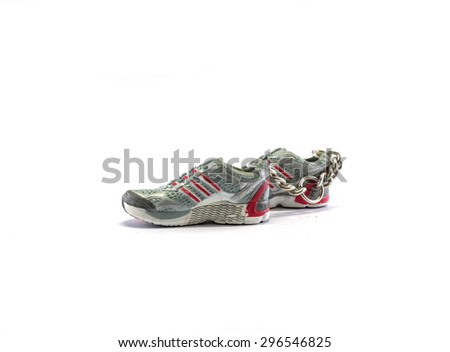 Sneakers keychain isolated on white background
