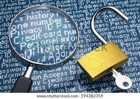 Sneaking a look at personal information. Unlocked padlock and magnifier.  - stock photo