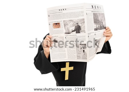 Sneaky priest peeking through a hole in newspaper isolated on white background - stock photo