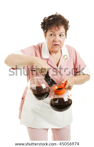 Sneaky waitress substitutes caffeinated coffee for the decaf.  Isolated on white. - stock photo