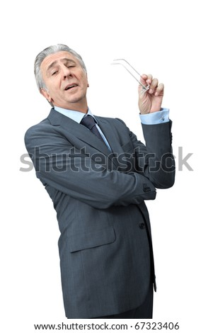 Sneering boss crossing arms. - stock photo