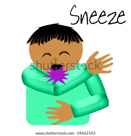 sneeze catcher elbow poster illustration on solid background - stock ...