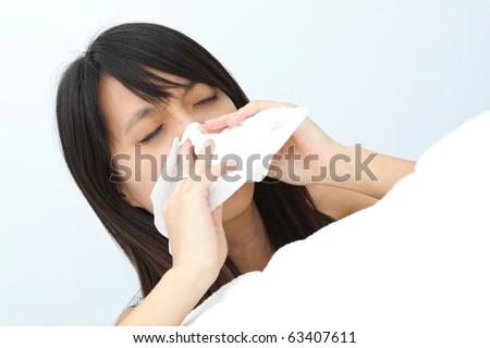 sneeze girl - stock photo