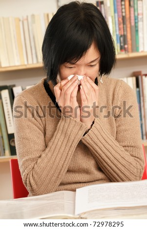 Sneeze woman using toilet paper at home. - stock photo