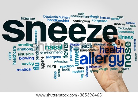 Sneeze word cloud concept - stock photo