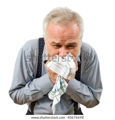 Sneezing. - stock photo