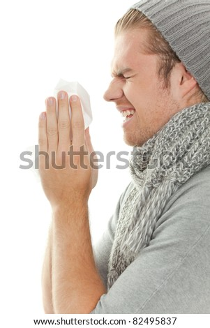 sneezing - stock photo