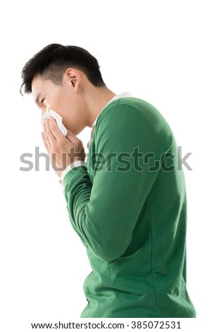 Sneezing asian man, closeup portrait. - stock photo