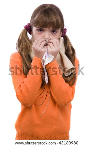 Sneezing. Little girl on white background in winter clothing is sick. Female have sore throat and sneezing. - stock photo