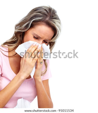 Sneezing Woman having cold. Isolated on white background. - stock photo