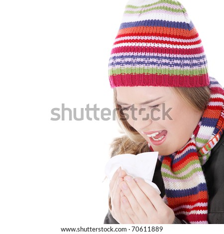 Sneezing woman with handkerchief , isolated on white - stock photo