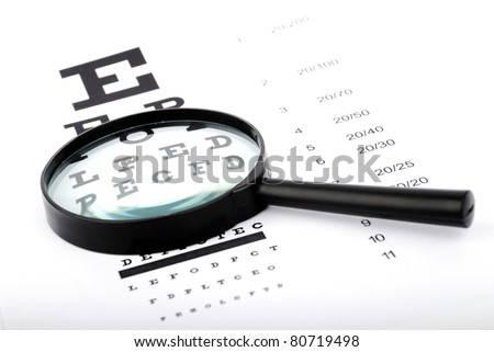 snellen chart, ophthalmology test - stock photo