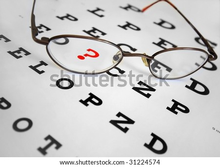 snellen eye chart with question mark