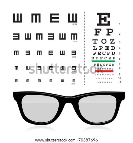 Snellen eye test chart with glass isolated on white background.
