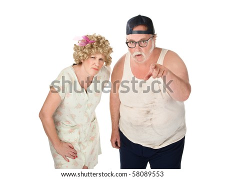 Snickering older couple with dirty clothes on white background