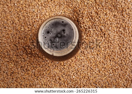 Snifter glass with black stout beer standing over malted barley grains - stock photo