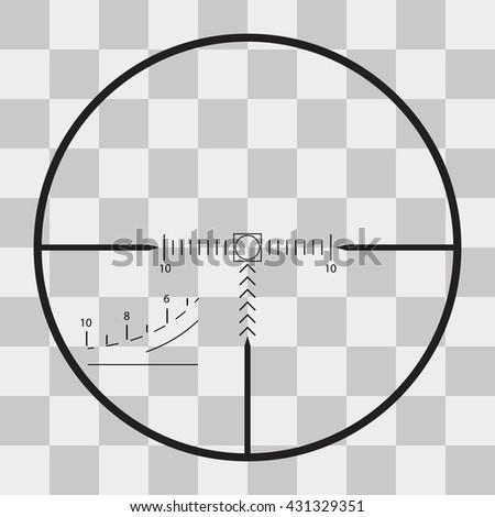 sniper black finder target illustration bull eye on transparent background - stock photo