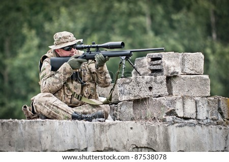 sniper in position - stock photo