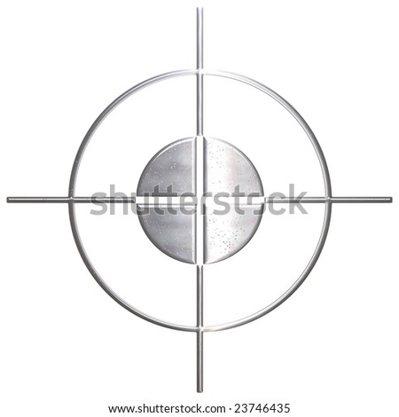 Sniper made of corroded metal over white background - stock photo