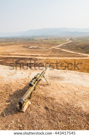 Sniper on ground - stock photo