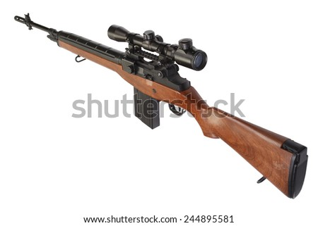 sniper rifle M14 isolated on white background - stock photo