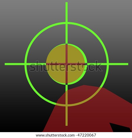 Sniper rifle night sight aiming at human head. - stock photo