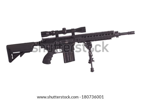 sniper rifle with bipod isolated on a white background - stock photo