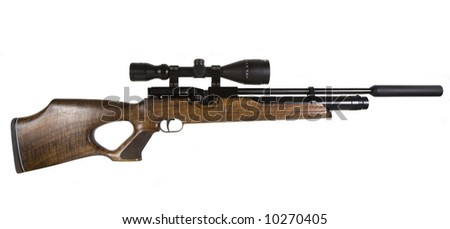 Sniper Rifle with Scope isolated on White - stock photo