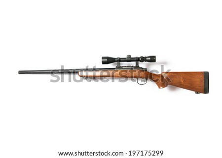 Sniper Rifles isolated on white background - stock photo