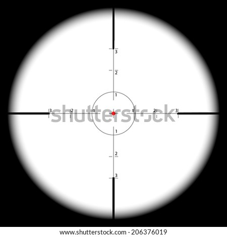 Sniper's scope sight view - stock photo