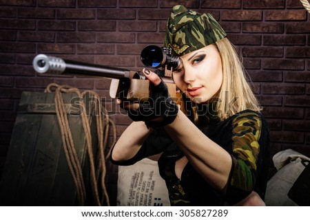 Sniper woman - stock photo