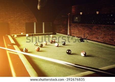Snooker ball on snooker table - stock photo