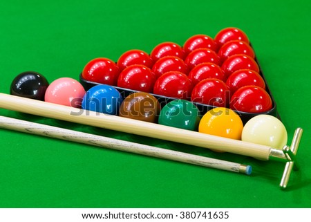 Snooker balls on the snooker table.
