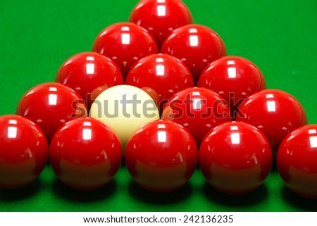 snooker balls set on a green table - stock photo
