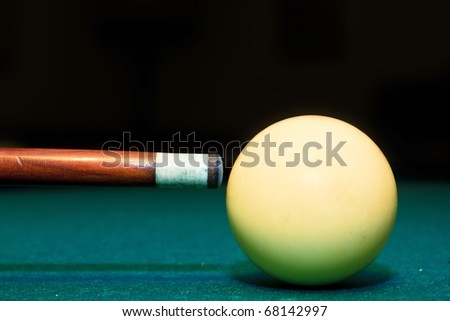 snooker club and white ball in a billiard table - stock photo
