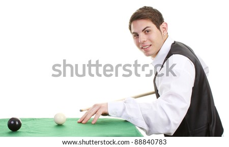 snooker player potting balls on a green, isolated - stock photo