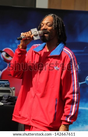 Snoop Dogg at the TURBO-Charged Party and Surprise Snoop Dogg Concert, LA Live, Los Angeles, CA 06-12-13 - stock photo