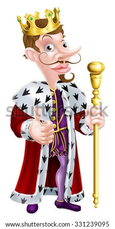 Snooty looking cartoon king character illustration wearing a crown, holding a sceptre and giving a thumbs up - stock photo
