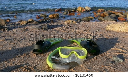 Snorkel equipement on the beach, Red Sea - stock photo