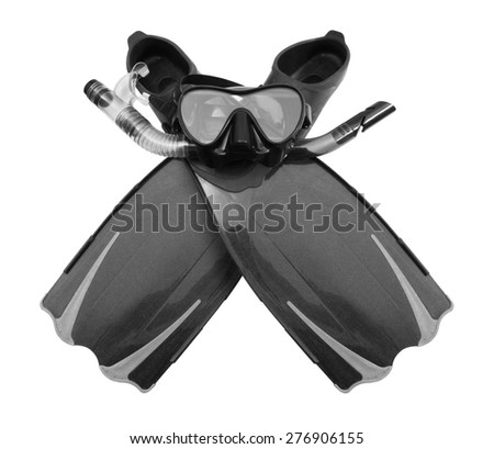 Snorkel, flippers and Mask for Diving, isolated on white background. - stock photo