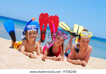 snorkelers - stock photo