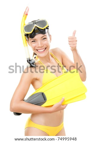 Snorkeling holidays woman in bikini isolated in studio on white background. Beautiful young mixed race Asian Caucasian female model. - stock photo