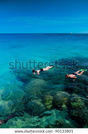 Snorkeling in a Coral Sea - stock photo