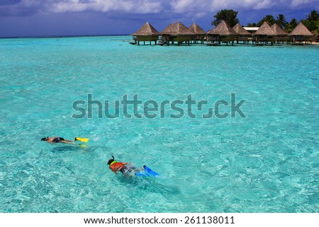 Snorkeling in a turquoise lagoon in Bora Bora - stock photo