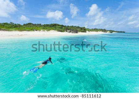 Snorkeling in clear blue water of tropical island, Yaeyama Islands, Okinawa, Japan - stock photo