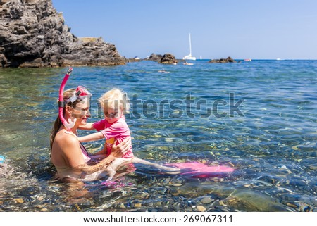 snorkeling in Mediterranean Sea, France - stock photo