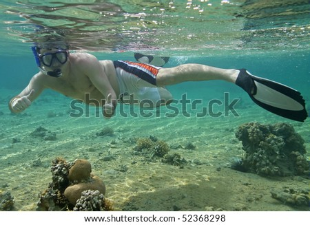 Snorkeling in Red Sea - stock photo