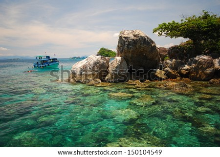 snorkeling in the sea , rung island trad thailand   - stock photo