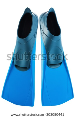 Snorkeling or Scuba Fins or flippers isolated on white - stock photo