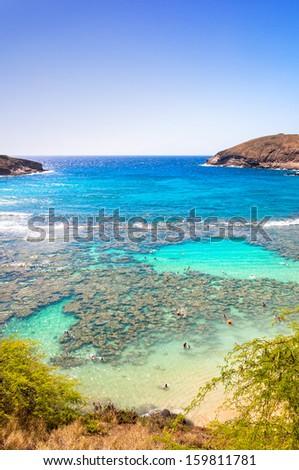 Snorkeling paradise Hanauma bay, Oahu, Hawaii - stock photo